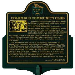 Packers Heritage Trail Marker for the Columbus Community Club.