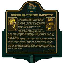 Packers Heritage Trail Marker for the Green Bay Press Gazette offices.