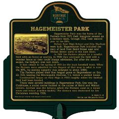 Packers Heritage Trail marker for Hagemeister Park.