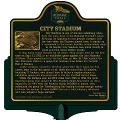 Packers Heritage Trail marker for City Stadium.