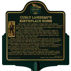 Packers Heritage Trail trail markers for Curly Lambeau's Birthplace home.