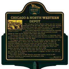 Packers Heritage Trail marker for the Chicago & Northwestern depot