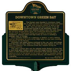Packers Heritage Trail marker for downtown Green Bay.