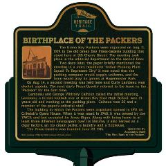 Packers Heritage Trail Marker for the Birthplace of the Packers located on Cherry St.  in Green Bay, WI.