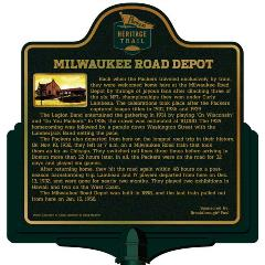 Packers Heritage Trail marker for the Milwaukee Road Depot.