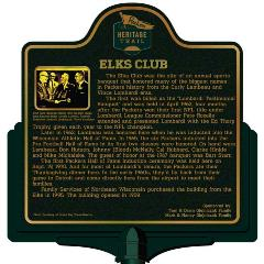 Packers Heritage Trail marker for the Elks Club.