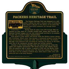 Packers Heritage Trail marker for the Packers Heritage trail.