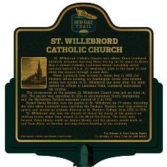 Packers Heritage Trial marker for St. Willebrord Catholic Church.