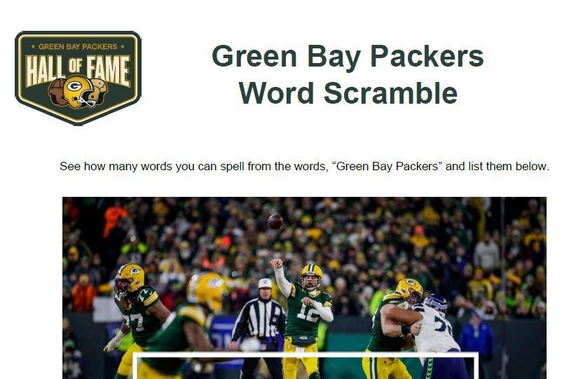 Green Bay Packers Word Scramble