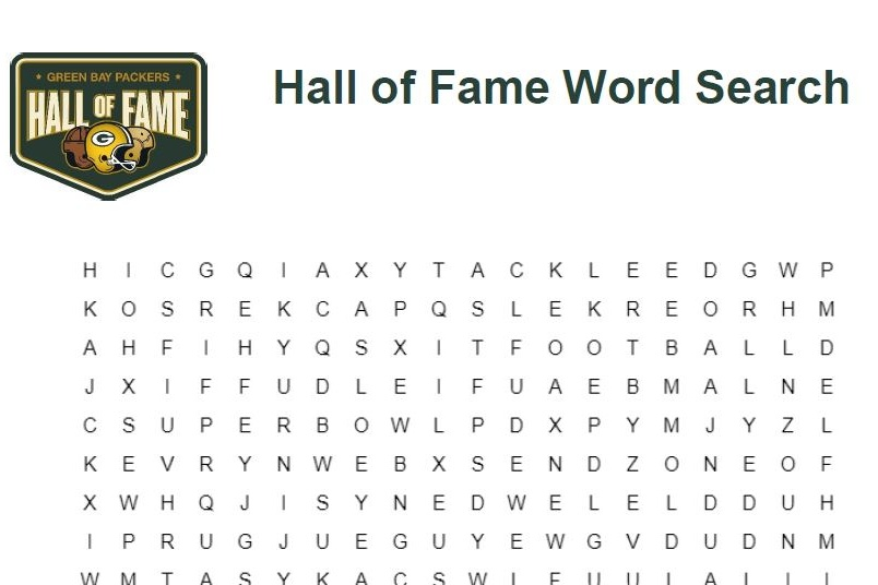 Packers Hall of Fame Word Search