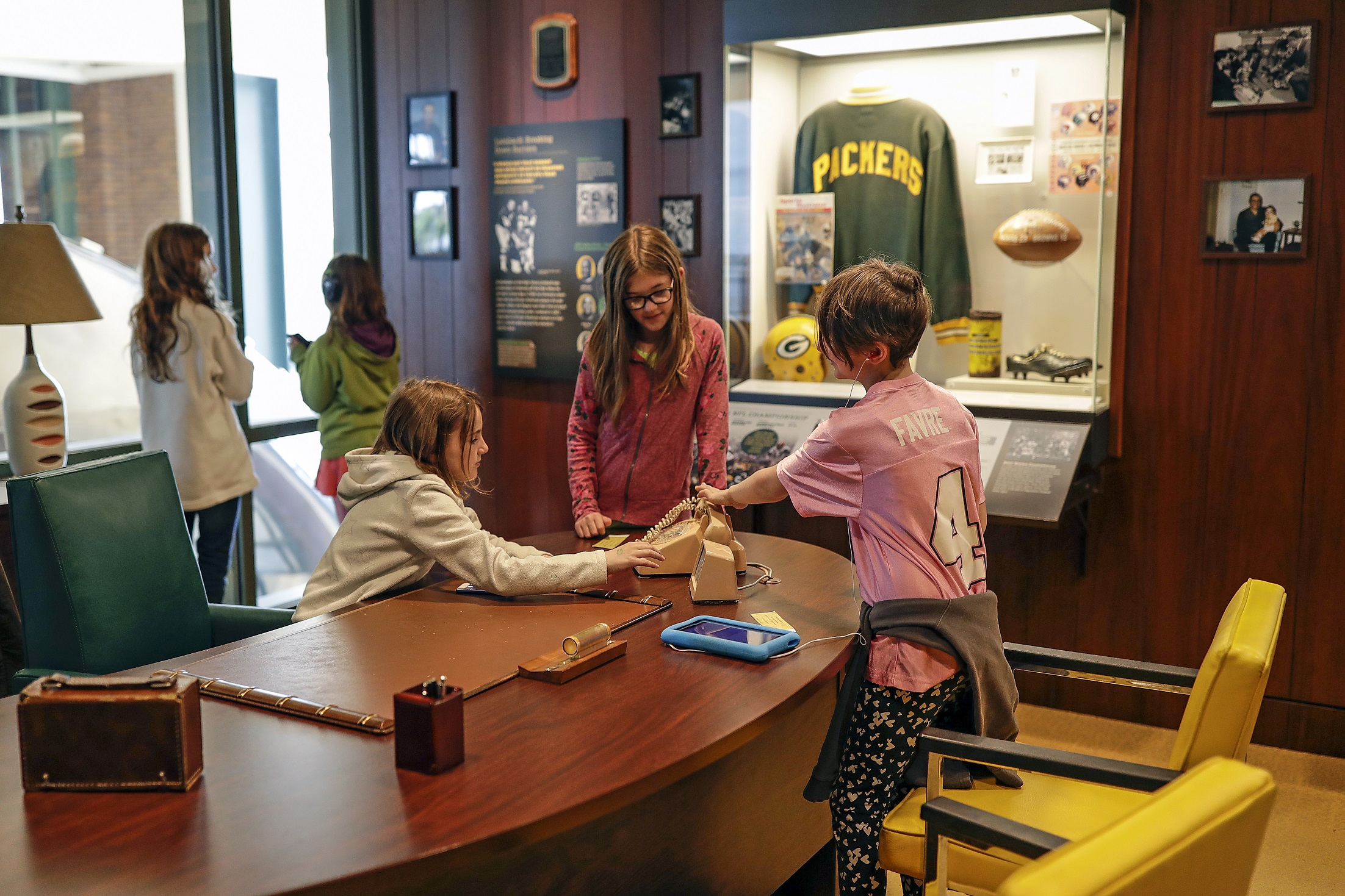 Kids viewing the Packers Hall of Fame.